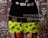 Neon Yellow Skull Print PUNK Skirt Street Punk Rock Clothing Rock n Roll Mini Skirt 80s Rocker Glam Rock Hair Metal Skulls Skirt XS - XXL