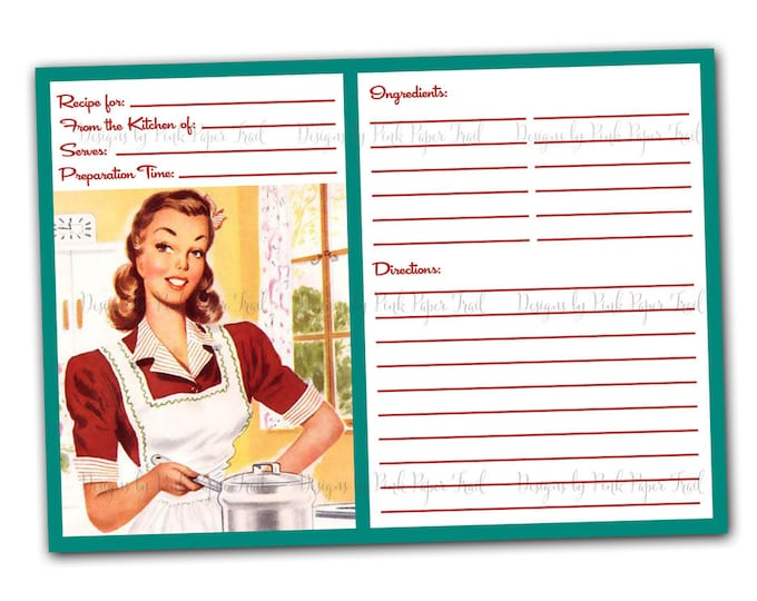 Retro Blank Recipe Card - Digital Template - 5x7 inches cards - Print-your-own