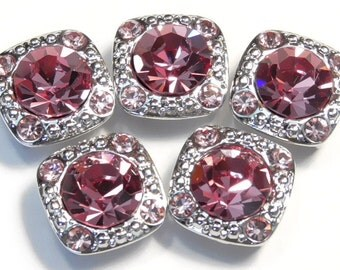 """Five 1/2"""" Square 2 Hole Slider Beads 2 Hole Spacer Beads 8mm Rose Pink & 2mm Lt. Rose Pink Austrian Crystal Studded In Silver Tone"""