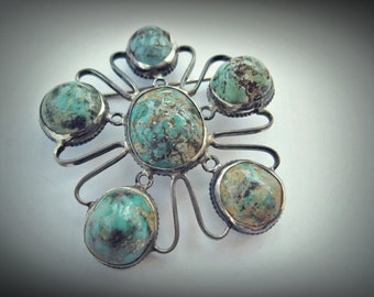 Vintage Chinese Brooch - Silver and Turquoise Pin - Peking Brooch Pin - Ethnic Jewelry
