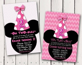 Minnie Mouse Party Hat Birthday Invitation