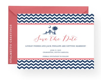 South Carolina Wedding Invitation Save the Date Magnets with Palmetto Moon and Ravenel Bridge with all custom colors by Palmetto Greetings
