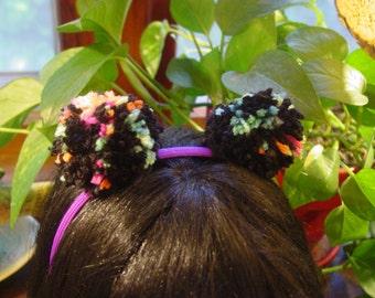 Neon Black Puffball Headband