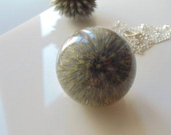 Globe Thistle Pendant, Scottish Thistle Necklace, Thistle Necklace, Scotland, Large Resin Orb Pendant, Eco Resin, Bio Resin, Eco Friendly