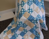 Beach Quilt, Sea Glass and Sand Dollars, Throw, Hand Quilted