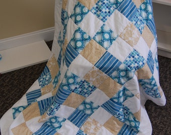 SALE, Beach Quilt, Sea Glass and Sand Dollars, Throw, Hand Quilted