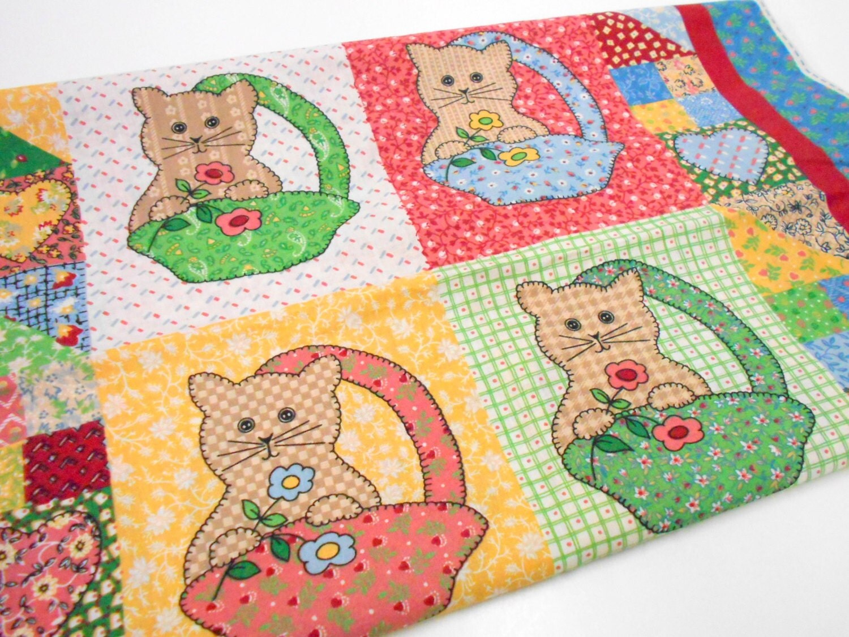 Calico kitten quilt panel cotton quilting fabric little for Cotton quilting fabric