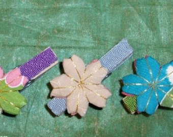 JAPANESE FABRIC SAKURA Decorated Clothes Pins