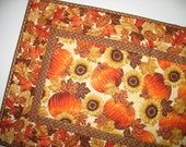 Autumn Table Runner with Sunflowers, Pumpkins, quilted, focus fabric from Hoffman
