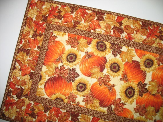 Autumn Table Runner With Sunflowers Pumpkins Quilted Focus