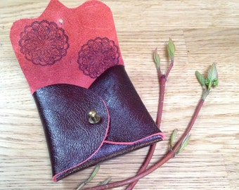OOAK Deep Maroon with Red Underside and Pattern Leather Earphone or Earbud Pouch or Just a Cute Pouch. Antique Brass Rivet. Eco Friendly