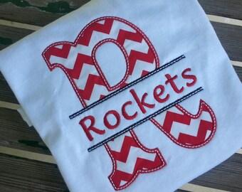 Custom School Mascot Shirt Split letter design Teacher Team Shirt