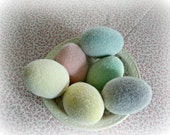 6 FLOCKED EGGS soft fuzzy 2.5 inch PASTEL colors vintage easter decoration