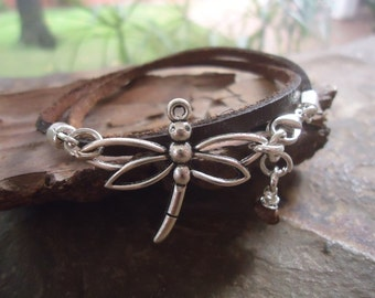 DRAGONFLY QUEEN leather collar / wrap bracelet (784)