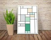 Good News, It's a De Stijl Minimalist Inspired Cartoon Character Print // Color Blocks, Geometry, and Thin Line Grid Design