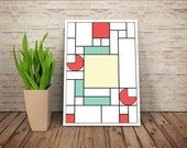 Crustacean Surgeon, De Stijl Minimalist Inspired Animated Character Print // Color Blocks, Geometry, and Thin Line Grid Design