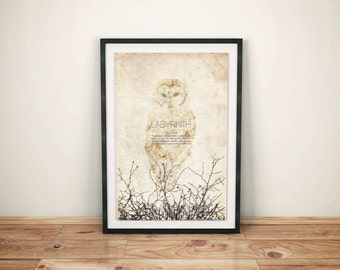 What Babe? // Labyrinth Alternate Movie Poster // Goblin King Quote, Snowy Owl, and Bramble Silhouette Print
