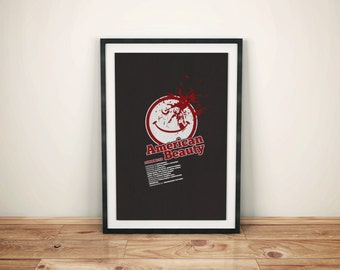 Cult Film Icon // American Beauty Alternate Movie Poster // Vintage Style Print with Smiley face and Blood