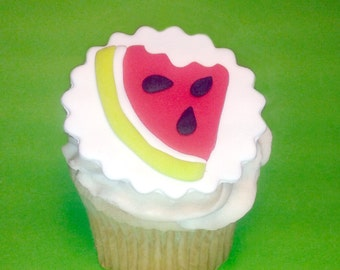 Fondant cupcake toppers Watermelon Summer party