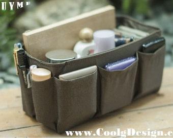 Purse organizer Insert / Bag Organizer  Extra Sturdy / Solid Brown / Large 25x10cm