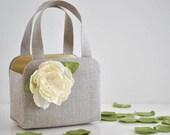 Adorable LINEN Flower girl basket. You Choose the Color for The flower and Basket lining.
