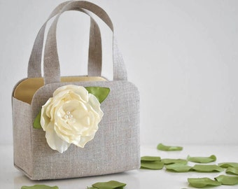 Adorable LINEN Flower girl basket. You Choose the Color for The flower and Basket lining.