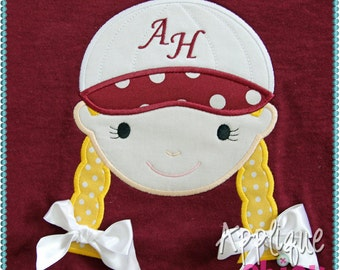 Baseball Girl Applique Design
