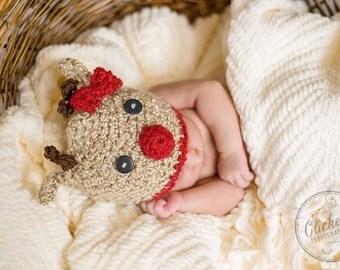 Reindeer Crochet Hat, Baby Reindeer Hat