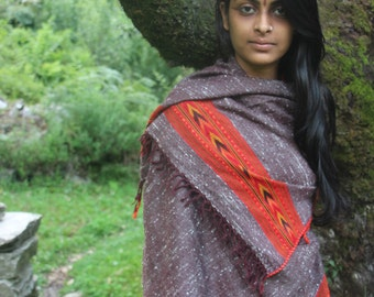 Traditional Wool Shawl / Fabric With Tribal Pattern