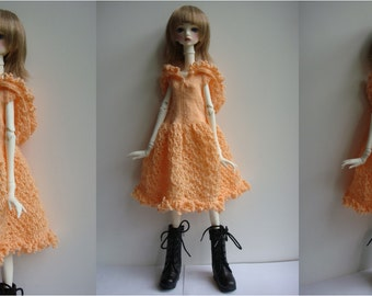 Doll-Chateau KID: Knitted Lacey Full-Skirted Dress with Hoodie