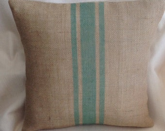 Burlap Sage Striped Pillow/Grain Sack Textured Accent Pillow Cover by sweetjanesplan