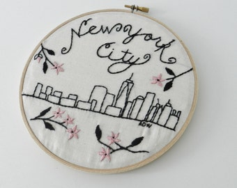 New York City Skyline Art. Hoop Wall Art. Hand Embroidered. DIY Embroidery Pattern. Hand Lettering. NYC Art. Pink and Black Decor Art.