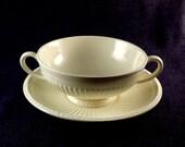 Set of 4 Wedgwood Edme Ivory Ridged Soup Bowl Tureen and Saucer Set, Vintage Bowls, 51298 61298