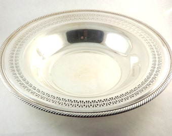 Siver Serving Bowl, Silver Plate Wm Rogers Round Fruit Bowl, Ornate Roping 835 Serving Bowl Tray