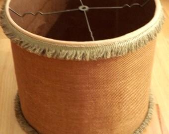Large Drum Shade, Vintage Burlap Lamp Shade, Boho Decor, Boudoir Camp and Cabin Rustic Natural Lamp Shade by Paul Hanson
