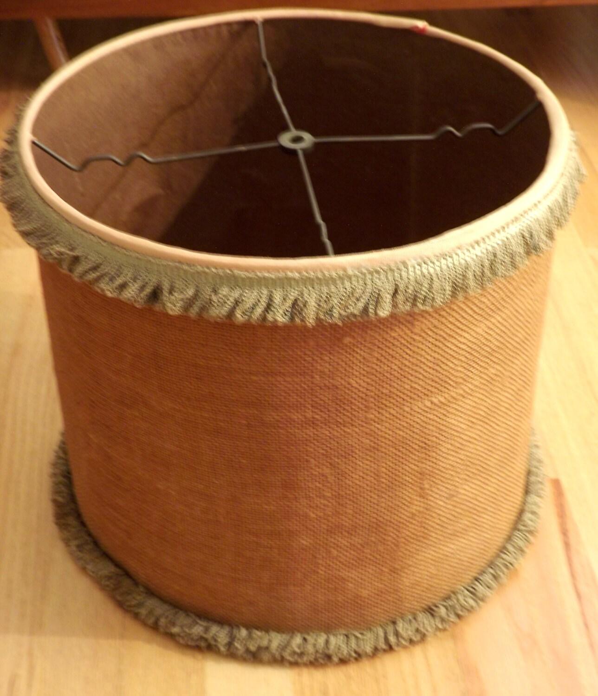 large drum shade vintage burlap lamp shade boho by forsythiahill. Black Bedroom Furniture Sets. Home Design Ideas