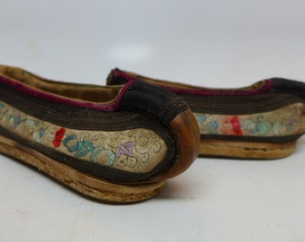 Antique Chinese Child's Slipper - Chines Child's Shoe - Embroidered Child's Shoe