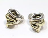 Sterling Silver Swirl Clip On Earrings Sterling Silver and Vermeil Electroform