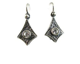 Vintage Sterling Silver Earrings with Crystal