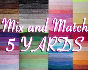 Choose 5 Yards - 5/8 Fold Over Elastic - Multi Pack - You Choose Colors - FOE