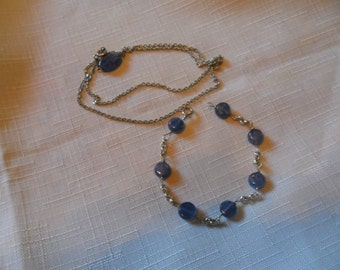 Vintage Silver Plated Kyanite Necklace and Bracelet