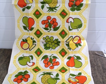 Vintage Linen Kitchen Towel with Fruit in Orange Lime Green and Yellow by Parisian Prints - vintage kitchen, retro towel, fruit towel, 1970s