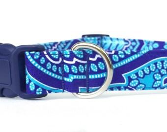 Dog Collar / Paisley Dog Collar /  Blue Dog Collar / Boy Dog Collar / blue paisley dog collar / navy dog collar / blue paisley collar