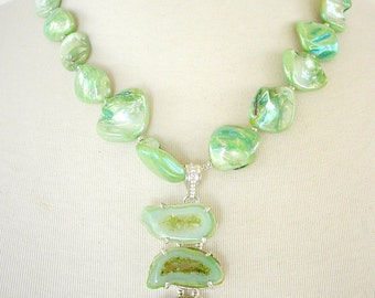 Pistachio Green Statement Necklace, Mother Of Pearl, Drusy Agate Pendant, Gemstone, Chunky Large Bead Artisan Necklace, Semiprecious