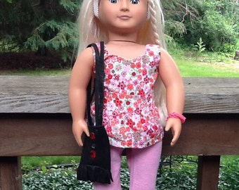 18 Inch Doll Clothes Summer Flowered Top with Knit Pants and Leather Totebag