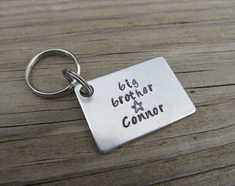 """Personalized Big Brother Keychain- Hand-Stamped Keychain- """"big brother"""" with a stamped star, and a name of your choice"""