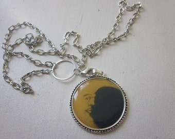 Silver Plated Necklace Round Blue and Yellow Moon Pendant,