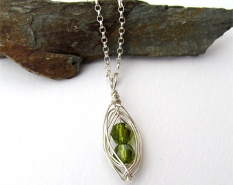 Peapod Necklace, Two Peas In A Pod, Sterling Silver Peapod Necklace, Twin Jewelry