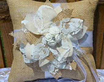 PERSONALIZED Burlap Lace Ring Pillow, Custom ring bearer pillow, wood heart initials, rustic wedding ring pillow, burlap and lace, custom
