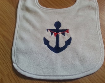 Anchor Red White and Blue baby bib